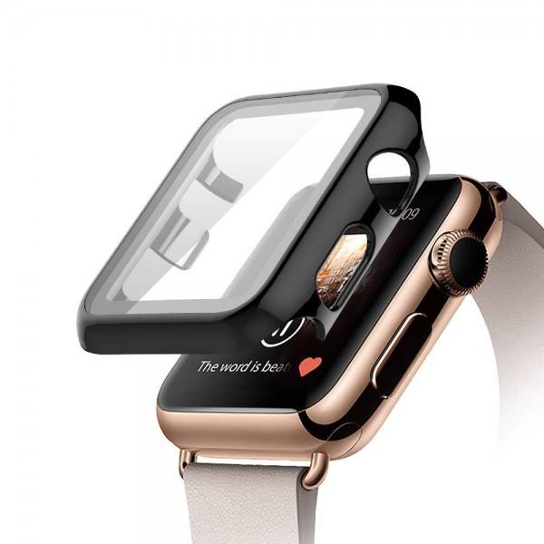 Schutzhülle mit Displayglas für Apple Watch 1 2 3 4 5 5 6 SE Ultraslim Soft Touch