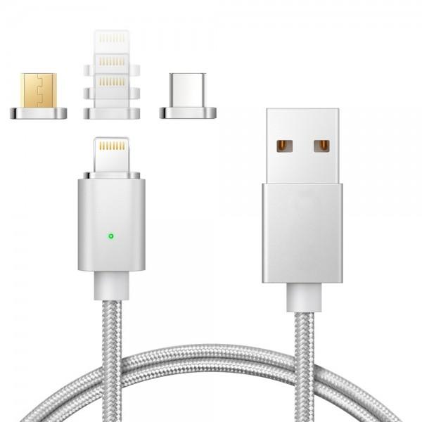 3 in 1 Magnet Lightning USB USB-C Ladekabel